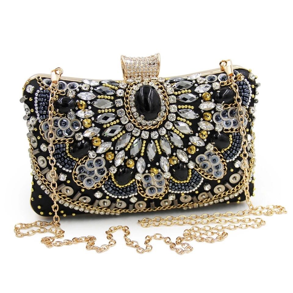 2020 designer fashion select for clearance Blair Black & Gold Beaded Clutch Bag